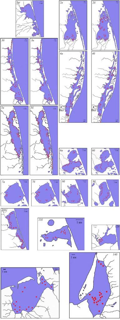 Места скопления речных уток в период весеннего (а) и осеннего (б) пролёта