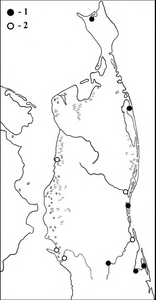 Места встреч выводков касатки (1) и встречи птиц в гнездовой период (2) на Северном Сахалине