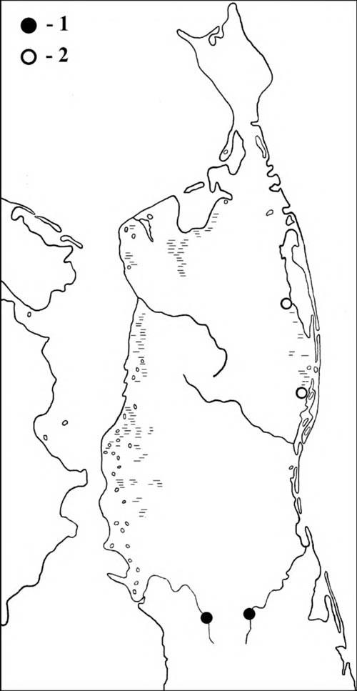 Места гнездования мандаринки (1) и встречи птиц в гнездовой период (2) на Северном Сахалине