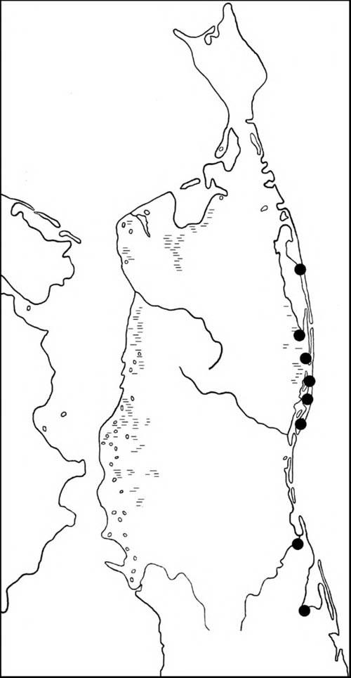 Места находок гнезд ивыводков хохлатой чернети наСеверном Сахалине