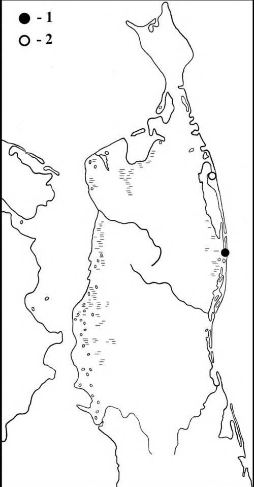 Места встреч гаги-гребенушки (1) исибирской гаги (2) наСеверном Сахалине