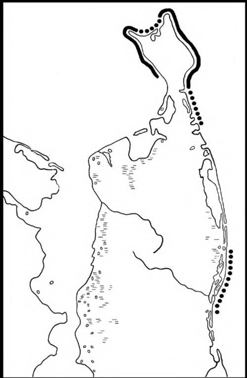 Основные места скопления длинноносых крохалей налиньку икормёжку (июнь–август 2003 года). Сплошная линия— максимальные скопления, прерывистая— минимальные