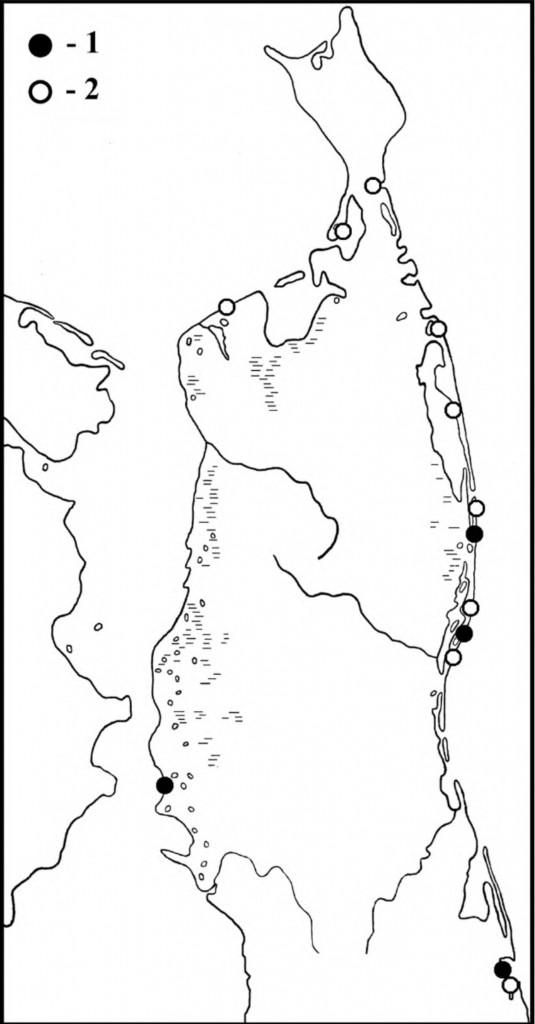 Места встреч тулесов впериод весенней (1) илетне-осенней (2) миграции наСеверном Сахалине