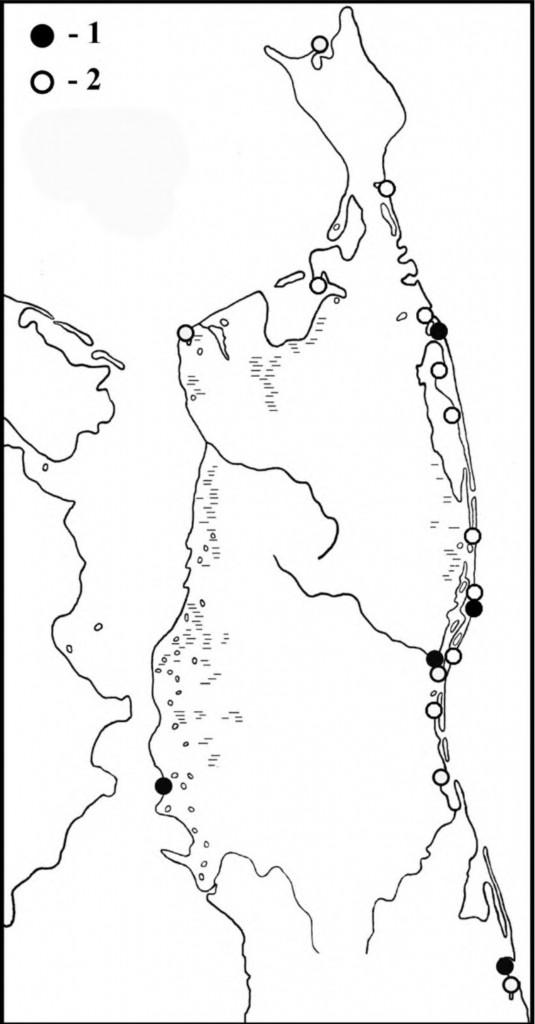 Места встреч бурокрылых ржанок впериод весенней (1) илетне-осенней (2) миграции наСеверном Сахалине