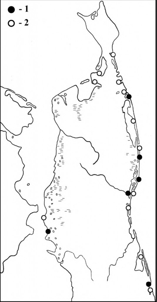 Места встреч камнешарок впериод весенней (1) илетне-осенней (2) миграции наСеверном Сахалине