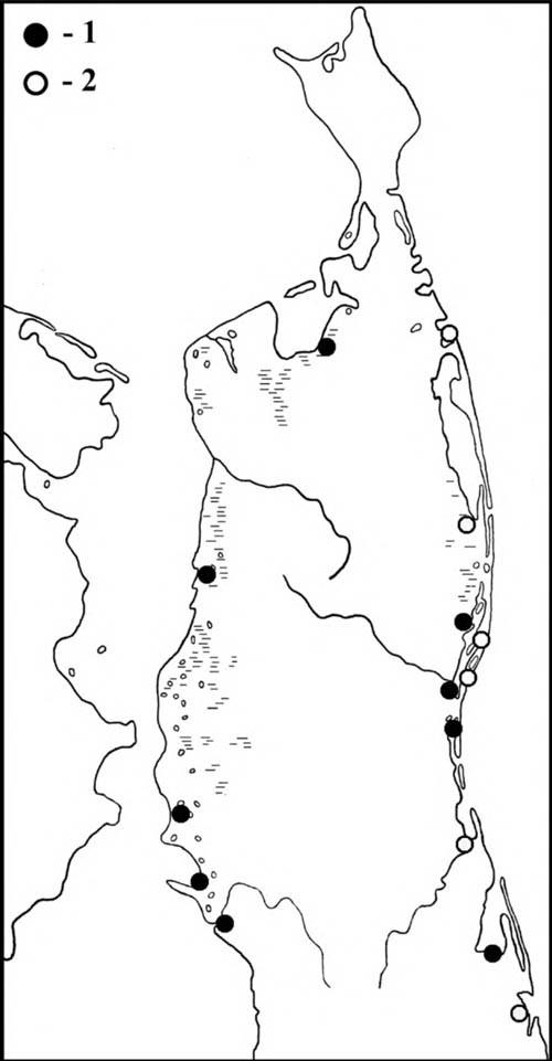 Места находок гнёзд и выводков (1) охотских улитов, а также встречи птиц в гнездовой период (2) на Северном Сахалине