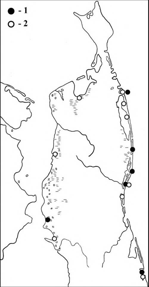 Места встреч щеголей впериод весенней (1) илетне-осенней (2) миграции наСеверном Сахалине