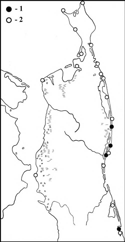 Места встреч сибирских пепельных улитов впериод весенней (1) илетне-осенней (2) миграции наСеверном Сахалине