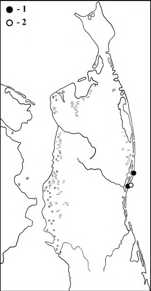 Места встреч поручейников (1) иамериканского пепельного улита (2) наСеверном Сахалине