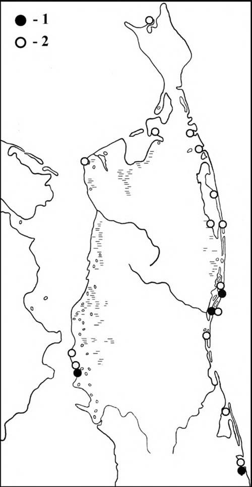 Места встреч мородунок впериод весенней (1) илетне-осенней (2) миграции наСеверном Сахалине