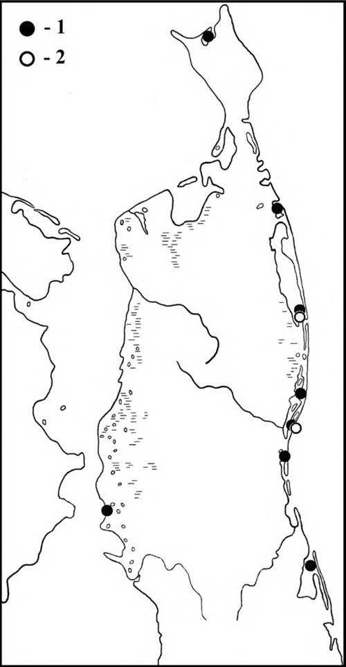 Места встреч острохвостых песочников (1) идутышей (2) наСеверном Сахалине
