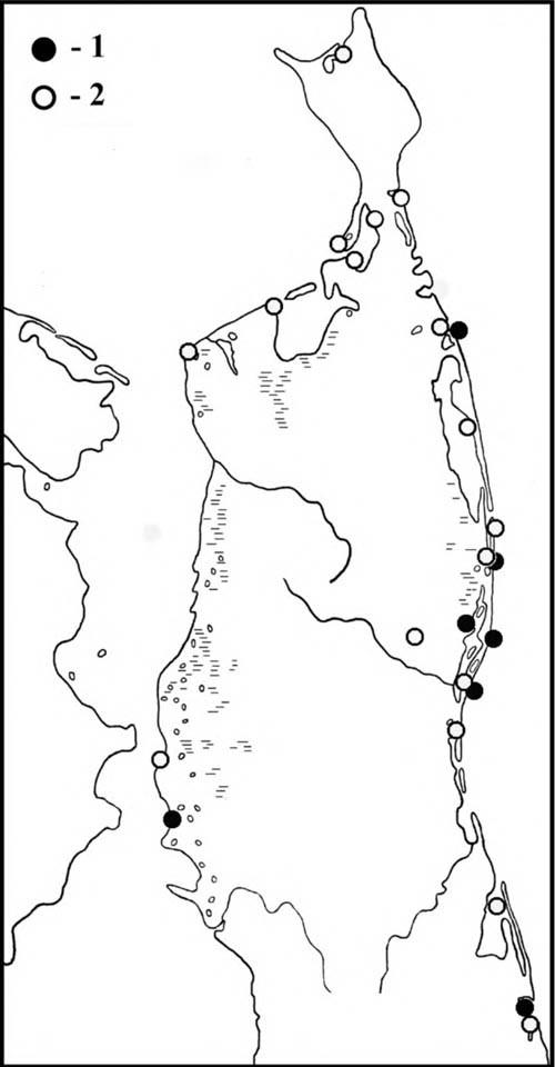 Места встреч больших песочников впериод весенней (1) илетне-осенней (2) миграции наСеверном Сахалине