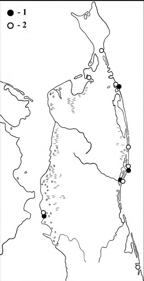 Места встреч исландских песочников впериод весенней (1) илетне-осенней (2) миграции наСеверном Сахалине