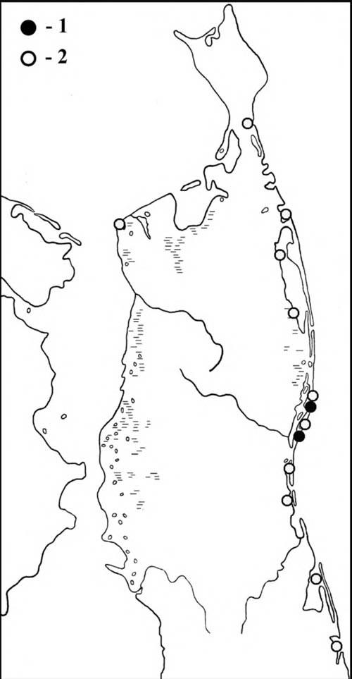 Места встреч дальневосточных кроншнепов впериод весенней (1) илетне-осенней (2) миграции наСеверном Сахалине