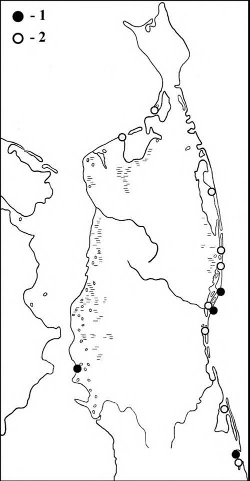 Места встреч малого веретенника впериод весенней (1) илетне-осенней (2) миграции наСеверном Сахалине