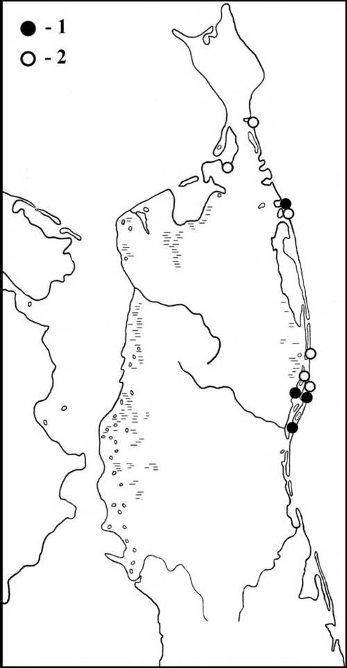 Места встреч серокрылой чайки впериод весенних (1) илетне-осенних (2) перемещений