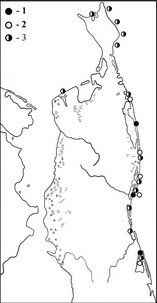 Места встреч моёвок впериод весенних (1) иосенних (2) перемещений, атакже впериод летних кочёвок (3)