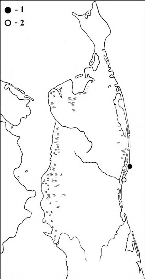 Места встреч розовой (1) ибелой (2) чаек наСеверном Сахалине