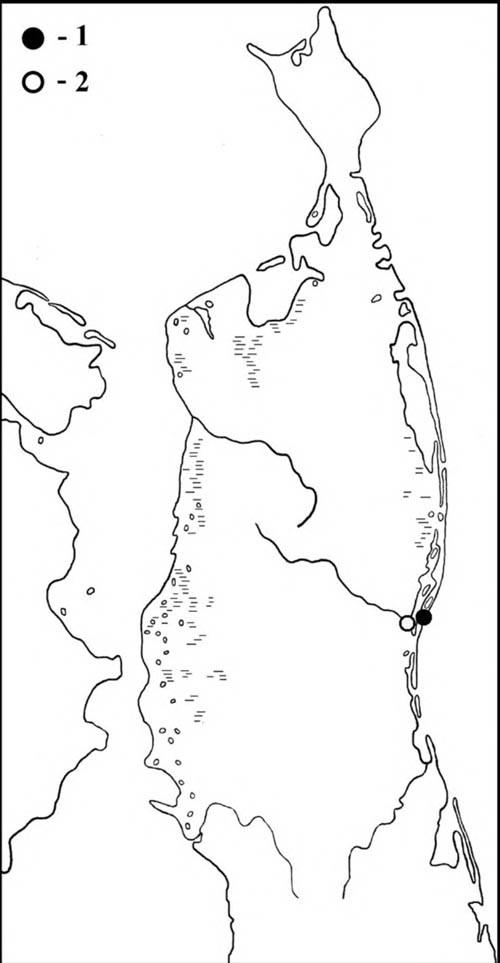 Места встреч чёрной (1) ибелокрылой (2) крачек наСеверном Сахалине